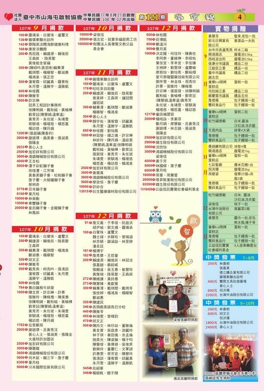 臺中市山海屯啟智協會-107年09-12月捐贈芳名錄